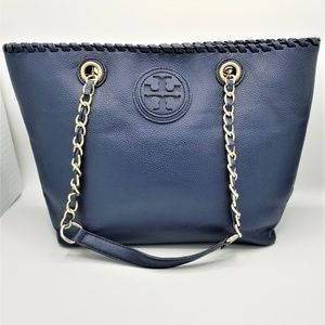 Tory Burch Marion East West Tote Navy Blue Pebble